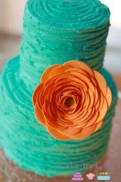 Teal & Tangerine Wedding Cake.