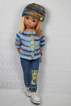 Knitting Dolls Clothes, Crochet Barbie Clothes, Ag Doll Clothes, Knitted Dolls Skirt, Crochet Dolls, Baby Booties Knitting Pattern, Sasha Doll, Baby Sweaters, Handmade Clothes