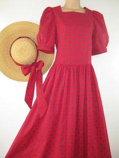 LAURA ASHLEY VINTAGE 80's Classic Red Ditsy Print Summer / Tea Dress, UK14