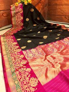 Black and Hot Pink Combination Pure Katan Banarasi Saree – IndyVogue Nalli Silk Sarees, Phulkari Saree, Banaras Sarees, Pure Silk Sarees, Maroon Saree, Pink Saree, Silk Saree Blouse Designs, Saree Blouse Patterns, Bridal Silk Saree