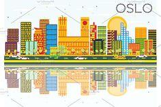 #Oslo #Skyline with #Color #Buildings by Igor Sorokin on @creativemarket