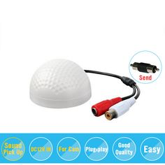Hiseeu Good quality fidelity Low noise CCTV Sound pick-up Mic/microphone speaker Monitor audio for Security camera