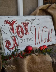 Hand Painted Vintage Christmas Sign - Joy to the World Sign - Wooden sign - Order your custom signs - Church Street Designs