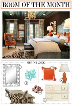 Wow, these colors are so gorgeous against the dark brown walls! Kelly Market: ROOM OF THE MONTH. Get the look with a Lamps Plus orange gourd Love. blah blah blah this is Dark Brown Walls, Blue Brown, Home Bedroom, Ivory Bedroom, Orange Rooms, Project, Living Room Colors, Beautiful Bedrooms, House Colors
