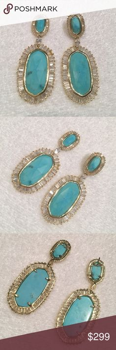 Kendra Scott turquoise kaki earrings *damaged* Rare kendra Scott kaki earrings with turquoise stones and cubic zirconia baguettes. I wore these once and all sorts of things broke. One post is completely broken off. One top stone fell out because a prong broke. A couple baguettes are missing. Sad but can be repaired or used to make a necklace! Priced for offers. Kendra Scott Jewelry Earrings