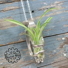 Living Fork Pendant - Living Jewelry - Handcrafted Upcycled Silverware - Wedding or Gift Idea - Wearable Flower Bud Vase Corsage Boutonniere by doctorgus on Etsy
