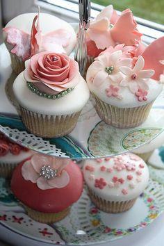 delicate rose cupcakes via Balderdash & Bunting http://www.facebook.com/ballderdashandbunting