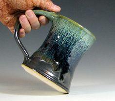 Beer tankard stein, coffee mug cup ceramic, glazed in gunmetal gray green moss, handmade by hughes pottery