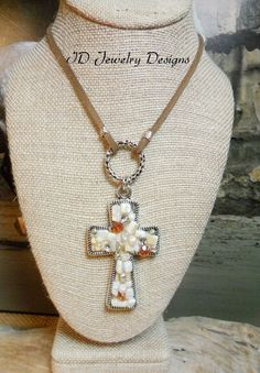 Handmade Leather Shell and Pearl Cross Necklace Pendent by IDJewelryDesigns on Etsy