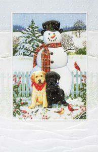 """Labrador Retrivers Boxed Christmas Cards """"Backyard Snowman"""" by Pumpernickel Press. $19.99. Premium FSC recycled paper, agri-based inks. 16 Fine Art Embossed Greeting Cards with 17 envelopes. Gift Boxed. This is a brand new package of  16 embossed cards and 17  envelopes printed on recycled paper using agri based inks. The cards measure 5.5 X 8.25 and are greeted :   Wishing you the warmth of family and friends at this beautiful Christmastime."""