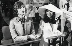 Bianca & Mick Jagger at their wedding in 1971 at St. Tropez. She wore Yves Saint Laurent