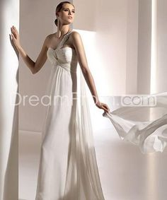 Delicate+Empire+Sweetheart+One-Shoulder+Floor-length+Watteau+Wedding+Dresses
