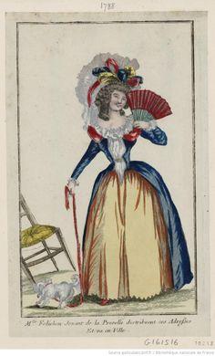 Titre :      M.lle Folichon jouant de la punelle distribuent ces adresses et va en ville : [estampe] / [non identifié]  Éditeur :      [Basset] (Paris)  Date d'édition :      1788