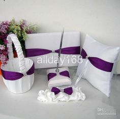 Free shipping, $40.84/Piece:buy wholesale PURPLE bow rhinestone Guestbook Pen Set Ring Pillow Flower Basket Garter for Wedding Favors Free Shipping from DHgate.com,get worldwide delivery and buyer protection service.