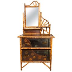 English Lacquer and Bamboo Victorian Dressing Table | From a unique collection of antique and modern dressers at https://www.1stdibs.com/furniture/storage-case-pieces/dressers/