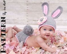 Easter Bunny Hat and Diaper | http://your-lovely-new-born-photos.blogspot.com