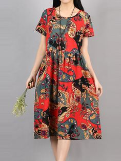 Chinese Style Summer Vintage Vestidos 2017 New Ladies Floral Long Dress Womens Cotton and Linen Dresses Plus Size Summer Dresses Online, Short Summer Dresses, Dress Online, Beautiful Dresses, Nice Dresses, Casual Dresses, Dresses Dresses, Black And White Long Dresses, Style Chinois
