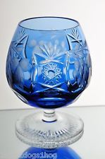 Nachtmann Traube Aqua Blue Cut to Clear Crystal Brandy Glass Snifter Goblet A