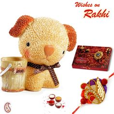 Picture of Ceramic Cute Doggy with Rakhi Rakhi Day, Hampers Online, Rakhi Gifts, Gift Hampers, Very Lovely, Teddy Bear, Ceramics, Homemade