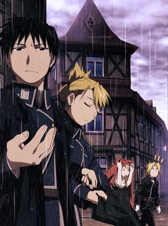 Mustang, Hawkeye, Winry and Ed - I love that Ed gave Wintry his coat