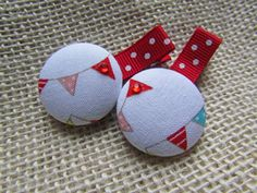 Girls / Baby Fabric Covered Button Hair Clip Set, Red, White, Aqua, Pink, Simple Buntings Pattern, Riley Blake,  Red/White Polka Dot Ribbon