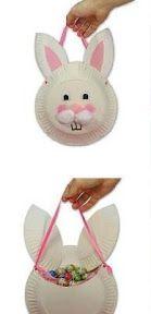 Faire son panier pour Pâques avec les enfants, un panier lapin avec des assiettes en carton pour aller chercher les oeufs dans le jardin. Un idée facile à réaliser et pas cher pour un panier unique pour enfant.