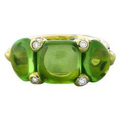New Pomellato Sassi 18k Gold Diamond Peridot Ring