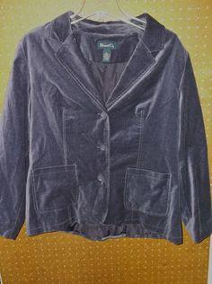 Denim & Co LARGE Purple Jacket / Peacoat ~100% Cotton #DenimCo #Peacoat