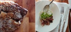 Rib-eye steak with goat-cheese potatoes and portobello mushrooms.