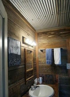 Love this Rustic Corrugated Metal Ceiling in this farmhouse bathroom. Diy Bathroom Remodel, Budget Bathroom, Bathroom Renovations, Bathroom Ideas, Master Bathroom, Master Shower, Basement Bathroom, Bathroom Ceilings, Bathroom Cabinets