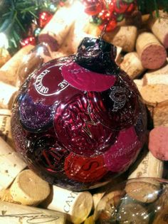 Wine lover Christmas Ornament with purple by LilRedsTreasures
