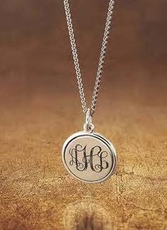 Engravable Disc Charm shown on a Very Light Spiga Chain with additional engraving #JamesAvery