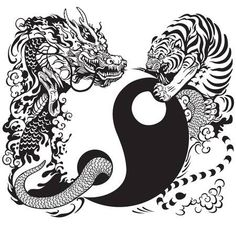 Yin Yang Symbol With Dragon And Tiger Fighting, Black And White .Yin Yang Symbol With Dragon And Tiger Fighting, Black And White . Yin Yang Tattoos, Tatuajes Yin Yang, Buddha Tattoos, Body Art Tattoos, Ying Yang, Arte Yin Yang, Yin Yang Art, Feng Shui Animals, Yin Yang Balance