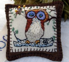 Owl PinCushion in recycled wools and hand embroidery. $25.00, via Etsy.