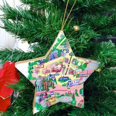 Disney DIY 12 Days of Christmas Ornaments | Park Maps Star | Pin now for Christmas!