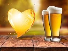 Beer in glass and splash in shape of heart on wooden table with blurred autumn city park on background, natural background with bokeh Stock Photo , Carne Molida Recipe, Queso Cheddar, Natural Background, Wooden Tables, Beer, Stock Photos, Mugs, Tableware, Glass