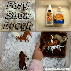 Homemade Snow Dough, A Snowy Day Book Activities, Animal Track Matching, FIAR, Toddler, Preschool, Sensory Play www.naturalbeachliving.com