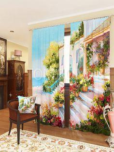 """Комплект штор """"Терраса у моря"""": купить комплект штор в интернет-магазине ТОМДОМ #томдом #curtains #шторы #interior #дизайнинтерьера"""