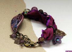 Purple bracelet, ceramic beads, bo hulley, sari silk, boho bracelet, bracelet bar, Czech glass, pearls charm bracelet by esfera jewelry