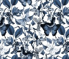 Butterfly Sanctuary ~ Blue and White fabric by peacoquettedesigns on Spoonflower - custom fabric