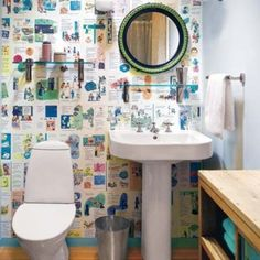Being book lovers, we don't usually advocate tearing them up, but an inventive use for old charity shop finds keeps walls lively and gives you something to read on the loo. #student #freshers #interiors