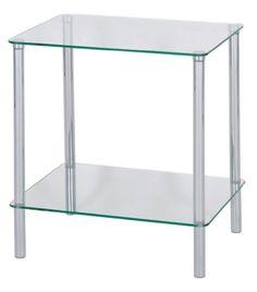 Levv - Mesa auxiliar rectangular con 2 estantes (de cristal), transparente