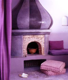 Sweet purple fireplace