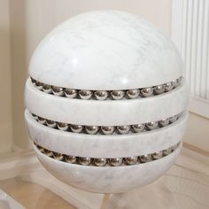 Spherical Marble Lamp with Chrome Ball | From a unique collection of antique and modern table lamps at https://www.1stdibs.com/furniture/lighting/table-lamps/