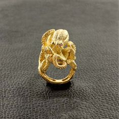 Gold Octopus Ring with Ruby Eyes