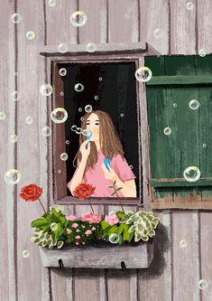 """Hope is an iridescent bubble that fugitively colors life."" De Jean Mauduit ""Hope is an iridescent bubble that fugitively colors life. Bubble Art, Animation Art, Cute Art, Illustration Art, Window Illustration, Artwork, Cute Drawings, Art Wallpaper, Girly Wall Art"