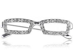 Nerdy School Teacher Clear Crystal Rhinestone Reading Glasses Frame Pin Brooch Alilang. $7.99. Save 11%!