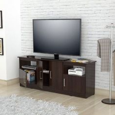 Inval Contemporary Espresso-Wengue TV Stand for TVs up to 60 inch, Brown