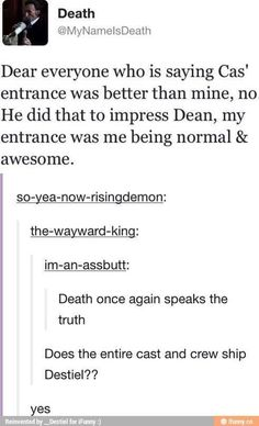 Idk what everyone else says but Death's entrance scene was epic!