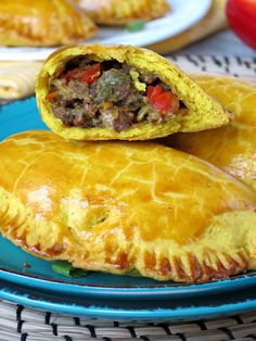 Jamaican Beef Patties  _ These patties have flaky turmeric-colored & curry-flavored crust & deeply flavorful ground beef & vegetable filling. Oooh boy, I'm in love with these meat pies – & crust is my favorite part! So delicious! I like to try different cuisines, especially when we are talking about such exotic cuisines like Jamaican!